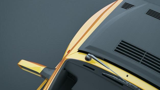 스포츠카 장면에 맨 위에 거리 터빈 자동차 3d 렌더링 및 그림