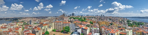 Top panoramic view of beyoglu district in istanbul, turkey