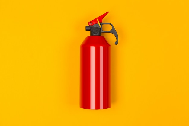 Top of red fire extinguisher
