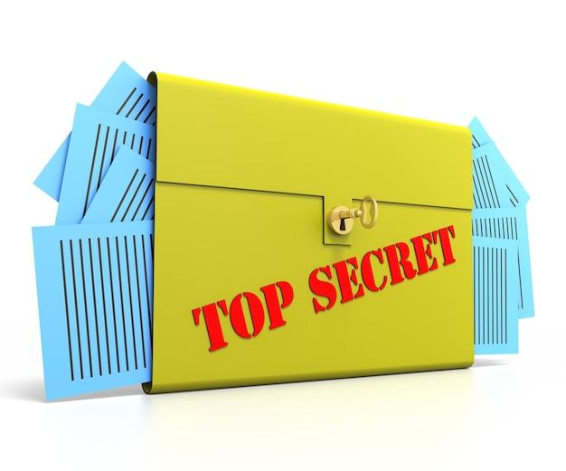 골드 키가 있는 일급 비밀 서류 케이스
