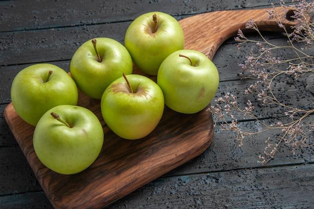 Mele vista laterale dall'alto a bordo di sei mele appetitose sul tagliere accanto ai rami degli alberi su una superficie scura