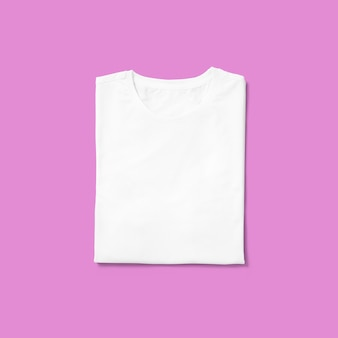 Top up up view round neck t shirt folded isolated on purple background. suitable for your design project.