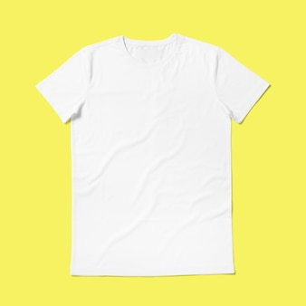 Top up up view round neck t shirt isolated on yellow background. suitable for your design project.