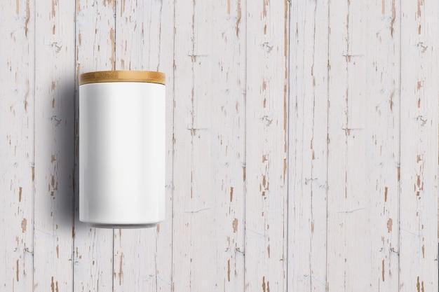 흰색 나무 배경에 고립보기 화이트 세라믹 항아리를 위로 올려. 디자인 프로젝트에 적합합니다.