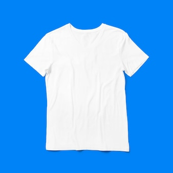 Top up up view white v neck t shirt isolated on blue background. suitable for your design project.