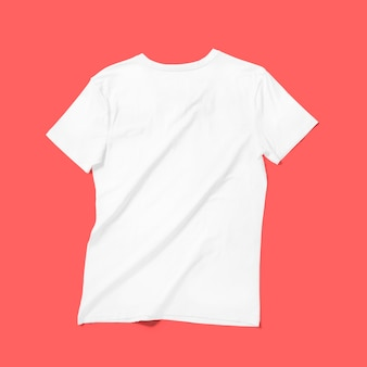 Top up up view white v neck t shirt isolated on red background. suitable for your design project.