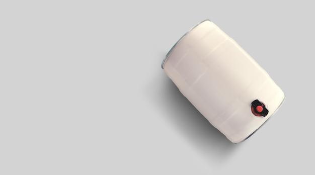 灰色の背景で隔離のトップアップビュー空白の白いビール樽。