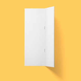 Top up view blank white brochure vertical upside down open isolated on bright brown background.