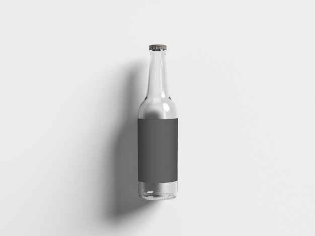 Top up view empty beer bottle isolated on white. oktoberfest concept.
