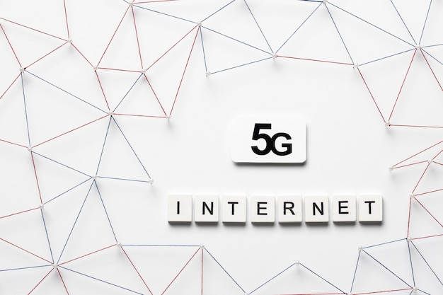 Top view of 5g internet communication