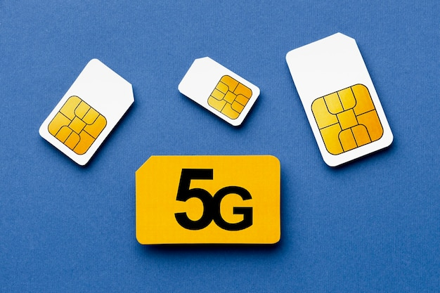Top view of 5g sim cards