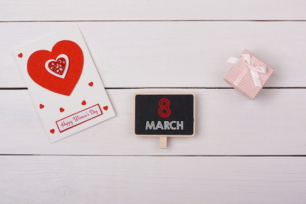 Top view 8 march concept with greeting card