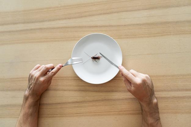 Вид сверху, мужчина ест таракана. таракан в белой тарелке на кухонном столе. странные вкусовые предпочтения