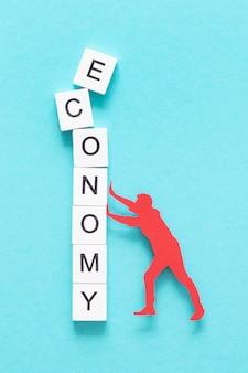 Вид сверху абстрактное расположение финансового кризиса
