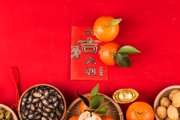Top view accessories chinese new year festival decorations.chinese  great luck blessing