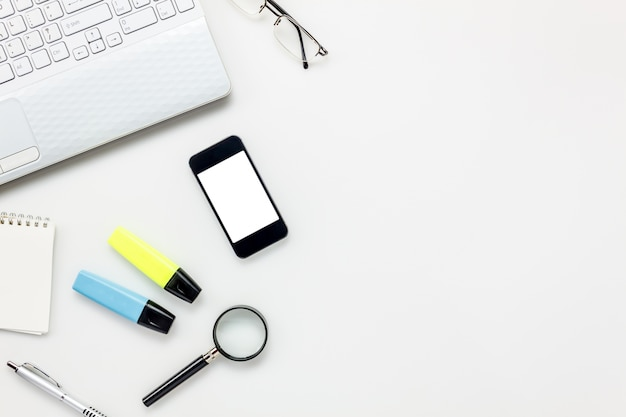 Top view accessories office desk concept.