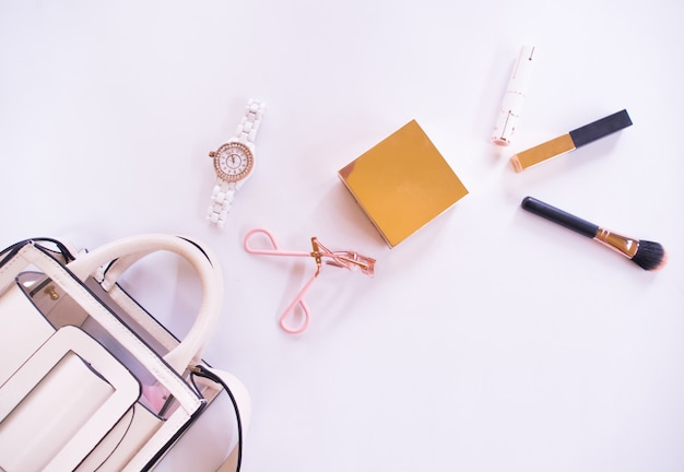 Top view of accessories for women in summer.
