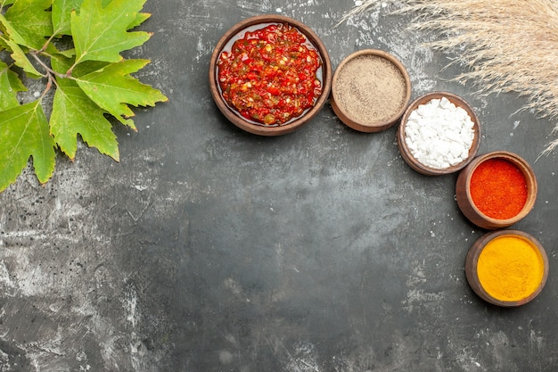 Top view adjika different spices in small bowls on grey background
