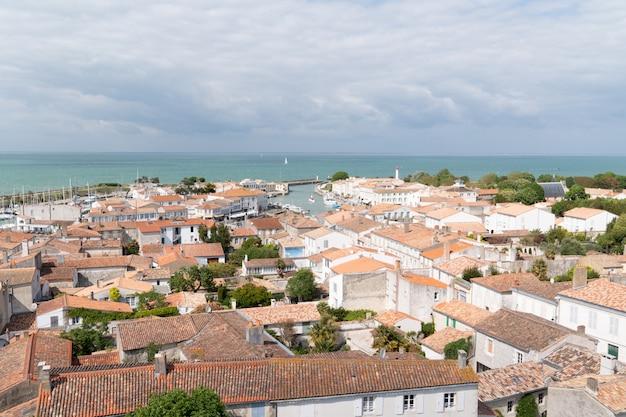 Top view aerial from church village saint martin de re