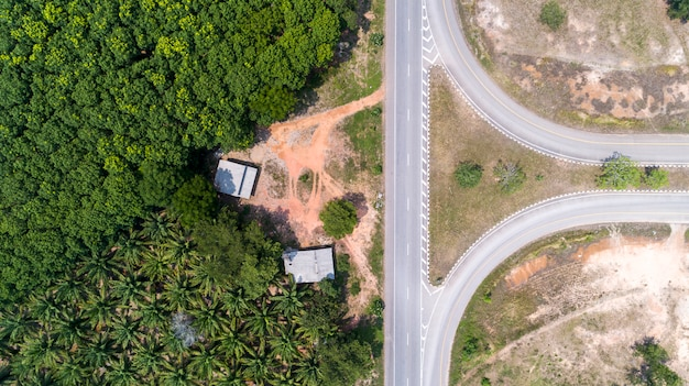 Top view aerial shot of the highway road