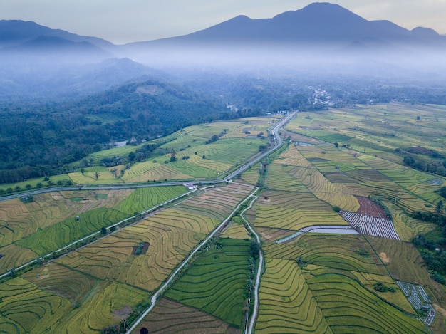 Top view aerial shot misty morning at mountain range with beauty rice fileds. north bengkulu, indonesia