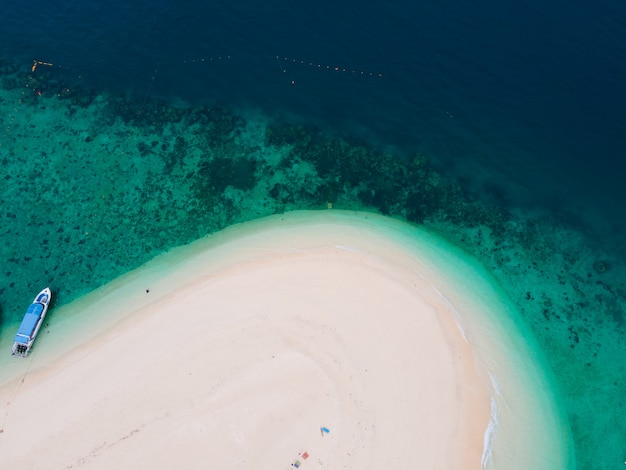 Top view aerial view sea and beach sand