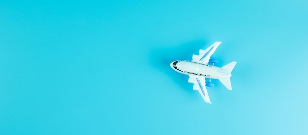 Top view airplane toy with copyspace