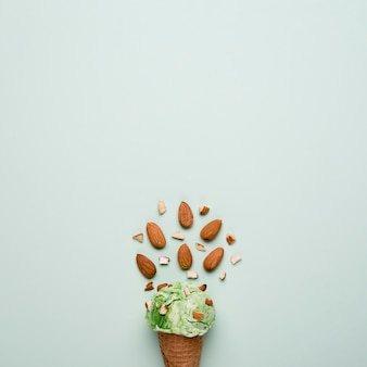 Top view almond ice cream with copy space