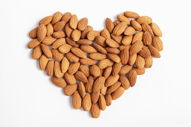 Top view of almonds in heart shape