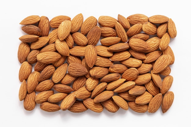 Top view of almonds in rectangular shape
