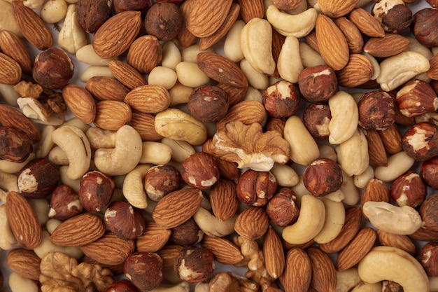Top view of almonds with cashews and hazelnuts