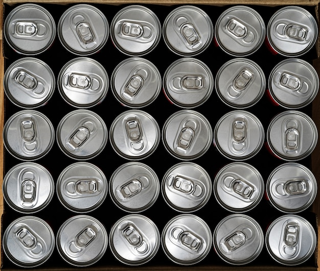 Top view, aluminium cans with a drink
