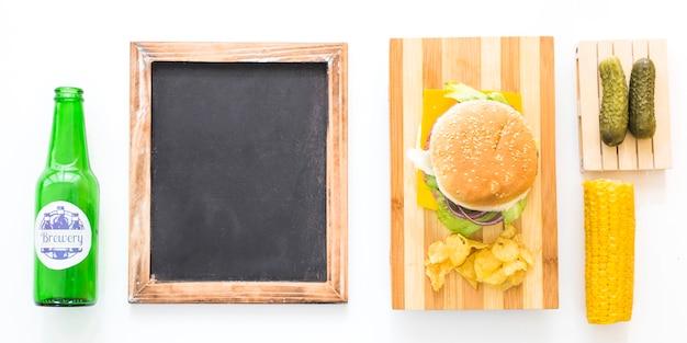 Vista dall'alto concetto di fast food americano