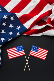 Top view of american flags