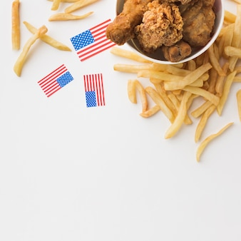 Top view of american food with copy space