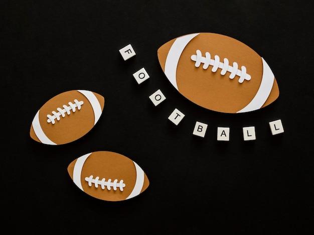 Top view of american footballs