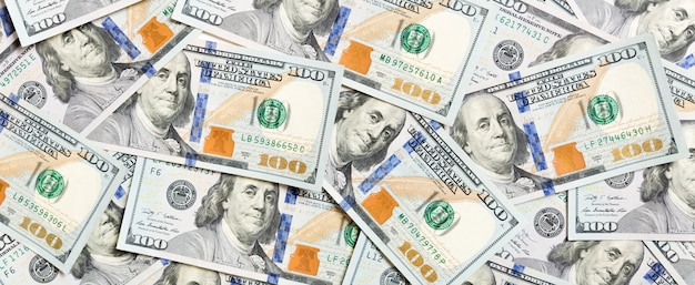 Top view of american money background. pile of dollar cash. paper banknotes concept.