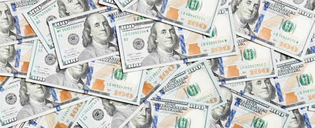 Top view of american money background