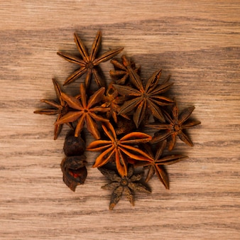 Top view anise grains