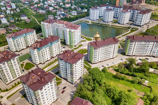 Top view of apartment tall buildings