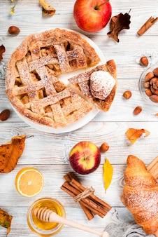 Top view of appetizing breakfast