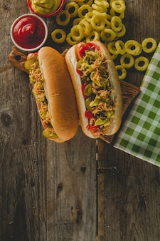 Top view of appetizing hot dogs