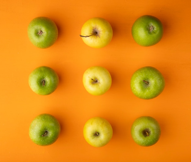 トップビューアップルミックス黄色と緑のリンゴ
