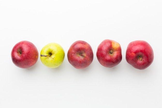 Top view apples aligned