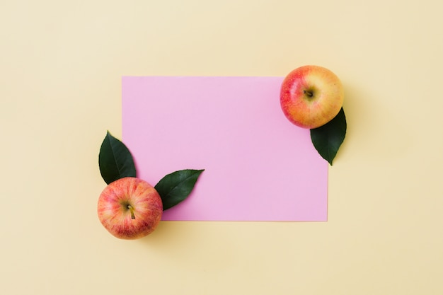 Top view apples with paper