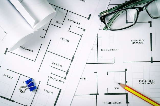 Top view of architect drawing on non identified architectural project