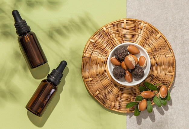 Top view argan oil arrangement