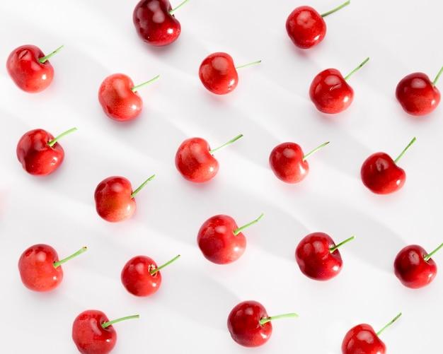 Top view of arranged cherries