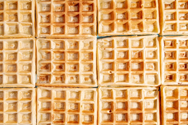 Top view of arranged waffles with pattern