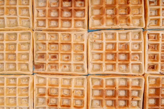 Top view of arranged waffles